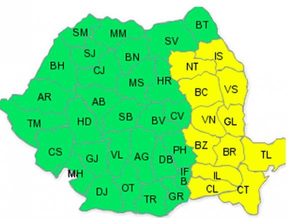 Cod galben de ninsori în 12 judeţe din estul şi sud-estul ţării