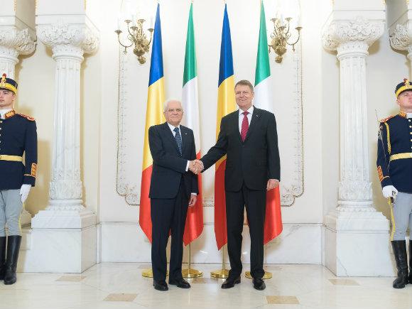 Președintele Klaus Iohannis l-a primit la Palatul Cotroceni pe omologul său italian
